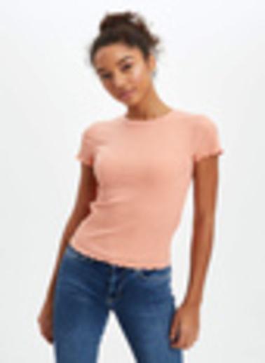 DeFacto Slim Fit Kısa Kollu T-Shirt Oranj